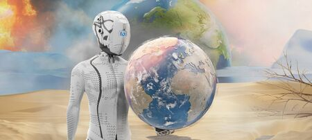 humanoid robot artificial intelligence desert planet earth 3d-illustration. Фото со стока