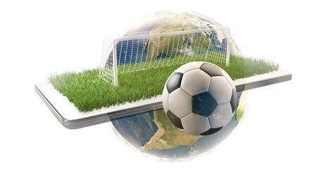 mobile phone soccer field ball and goal 3d-illustration. Imagens