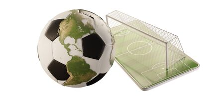 mobile phone soccer field and soccer goal and ball 3d-illustration. Imagens