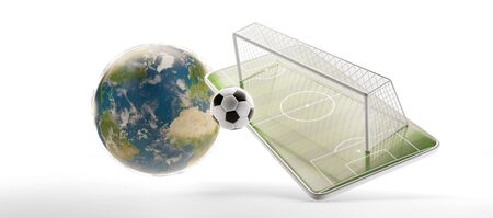mobile phone soccer field and soccer goal and ball 3d-illustration.
