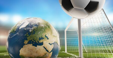 globe and soccer ball and goal 3d-illustration.