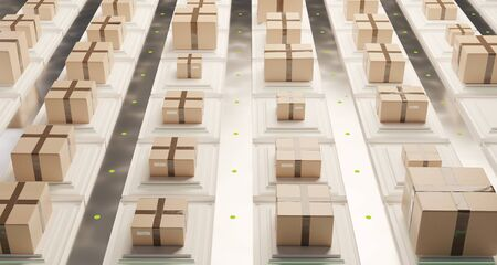 brown packages for delivery in modern logistics center. packages on individual transport platforms 3d-illustration
