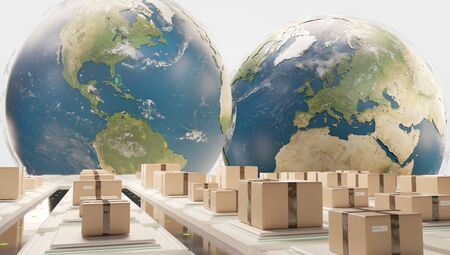 air planes and logistic center in front of globes 3d-illustration. Stockfoto