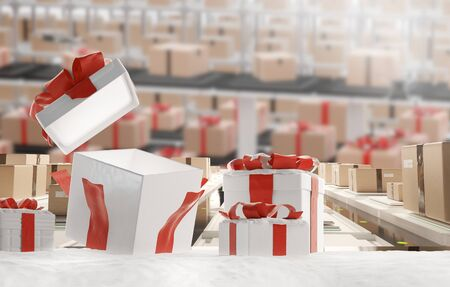 christmas business and logistics with christmas presents in the snow, open gift 3d-illustration Stock fotó