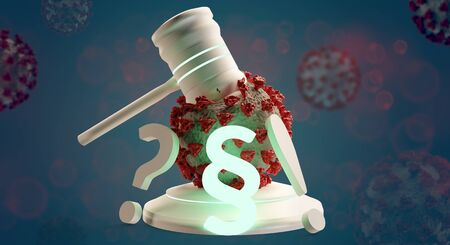 judge gavel and paragraph and question and exclamation mark and Coronavirus 3d-illustration 免版税图像