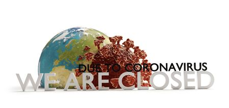 lockdown concept of coronavirus covid19. We re closed due to coronavirus 3d-illustration.