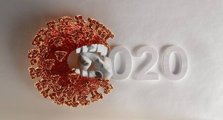 virus with teeth eats the year 2020.3d-illustration background