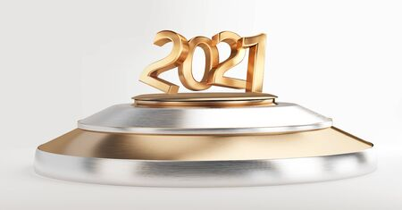 2021 bold letters pedestal podium golden silver 3d-illustration