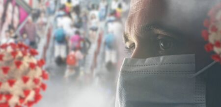 concept of corona virus with many people in the background and one in front with a mask. a European German young man, 33 years old, with face mask. 3d-illustration