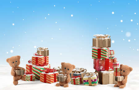 concept of christmas presents with cute teddy bears and pile of Christmas gifts 3d-illustration Foto de archivo