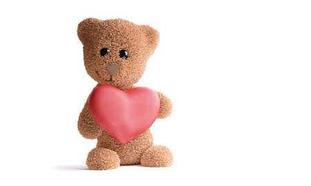 concept of love. cute teddy bear with big heart 3d illustration