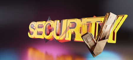 security bold light text and golden tick check symbol 3d-illustration background