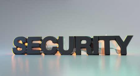 security bold light text 3d illustration background