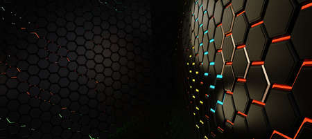 grid hexagonal modern creative trending dark structure background 3d illustration