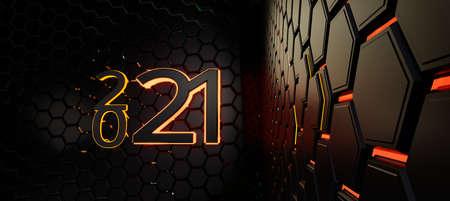 2021 grid hexagonal modern creative trending dark structure background 3d illustration