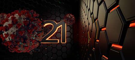 virus cell 2021 grid hexagonal modern creative trending dark structure background 3d-illustration