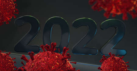 2022 and red virus cells abstract symbolic 3d illustration