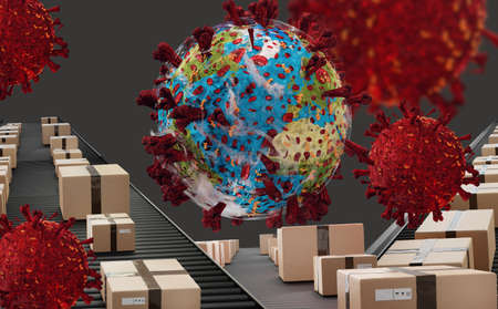 packages virus pandemic earth.   3d illustration