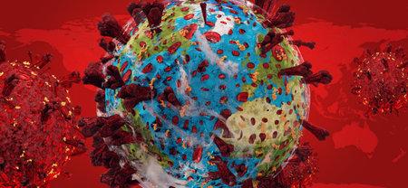 virus pandemic earth.   3d illustration