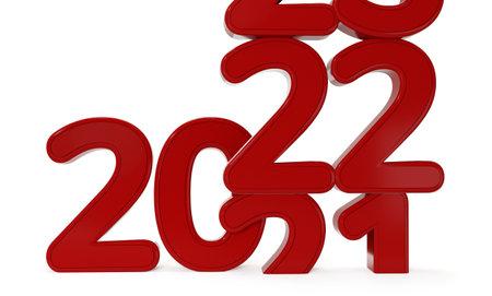 red 2022 bold letters 3d illustration