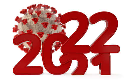 virus and red 2022 bold letters 3d illustration