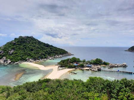 at the most famous viewpoint named Koh Nang Yuan Viewpoint on the tropical small island named Nangyuan Island Beach in Thailand next to the island named Koh Tao at midday, May 3, 2021