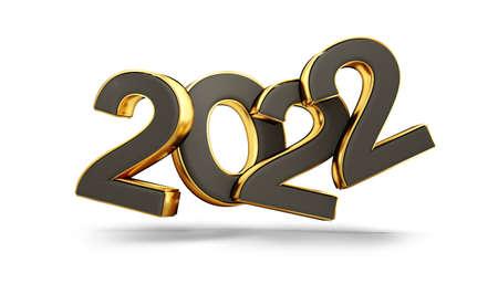 2022 dark and golden symbol 3d illustration