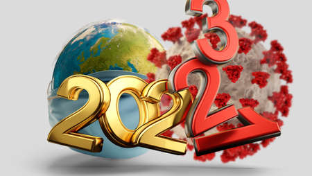 years symbolic and virus cell red 2021 2022 and 2023 3d-illustration 版權商用圖片