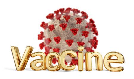vaccine golden bold letters and Coronavirus 3d illustration