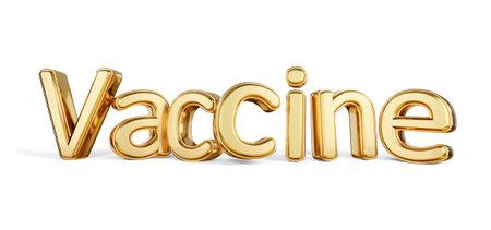 Vaccine golden bold letters 3d illustration