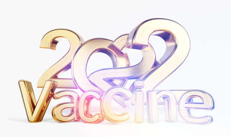 2022 vaccine golden symbolic metallic 3d illustration 版權商用圖片