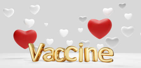 vaccine golden bold letters and red and white hearts 3d illustration