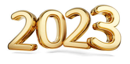 2023 bold letters golden symbol 3d illustration 版權商用圖片