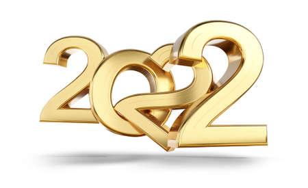 2022 bold letters golden symbol 3d illustration