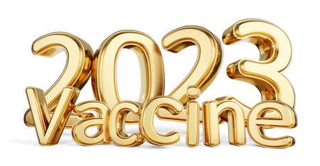 2023 vaccine golden symbolic metallic 3d illustration