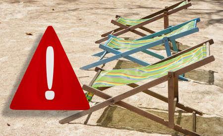 beach or travel warning. 3d illustration warning sign design. blurred beach named Sairee in Thailand on the island Koh Tao 版權商用圖片