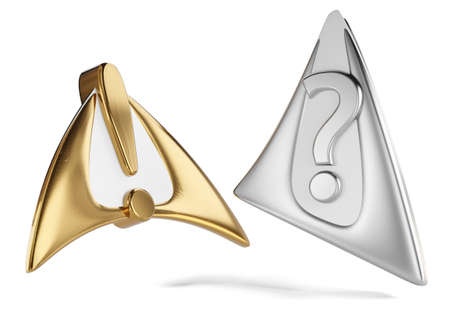 exclamation mark and question mark golden and silver 3d illustration 版權商用圖片