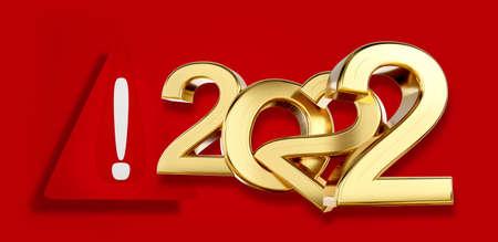 warning symbol 2022 golden 3d illustration