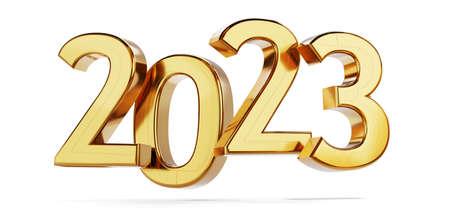 2023 golden bold letters symbol 3d illustration 版權商用圖片