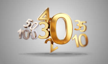 golden zero symbol. 0 and changing number as 20, 30, 40 as incidences 3d-illustration 版權商用圖片