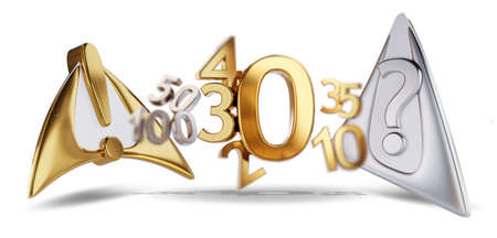 warning attention and question mark golden zero symbol. 0 and changing number as 20, 30, 40 as incidences 3d-illustration