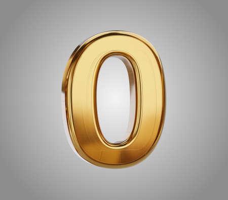golden zero as 0 metallic glossy 3d illustration 版權商用圖片