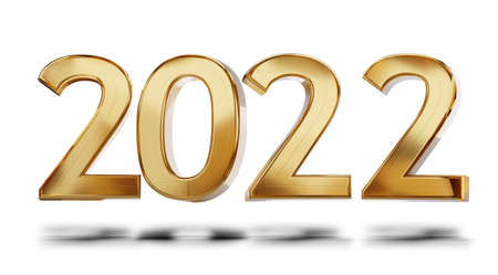 2022 golden bold letters 3d illustration metallic glossy design