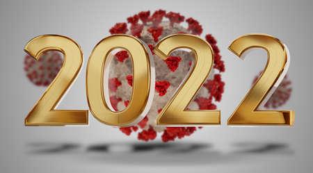 golden 2022 metallic bold letters in front of a Coronavirs virus cell 3d illustration 版權商用圖片