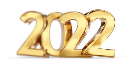 blurred 2022 golden bold letters symbol 3d illustration