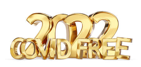 2022 Covid Free golden bold letters symbol 3d illustration