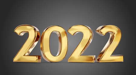 2022 golden bold letters symbol 3d illustration