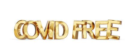 Covid free golden bold letters symbol 3d illustration