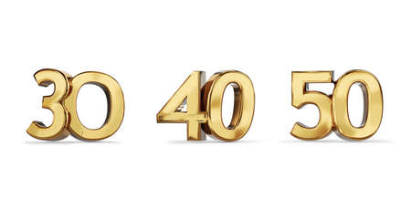 30 and 40 and 50 golden bold letters symbol 3d illustration