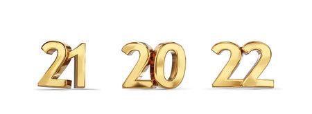 21 and 20 and 22 golden bold letters symbol 3d illustration 版權商用圖片